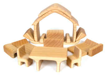 inOne Doll House with Furniture Natural