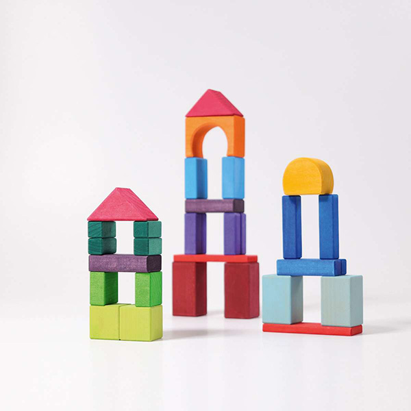 Colored Wood Blocks ~ Grimm s wooden toys colored geo blocks