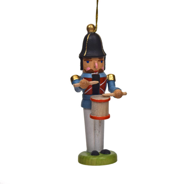 miniature nutcracker drummer hanging ornament - German Handmade Wooden Christmas Decorations