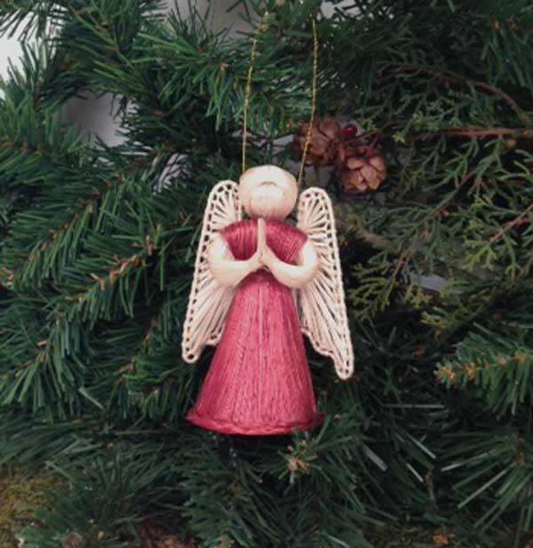 Angel Praying Straw Christmas Tree Ornament