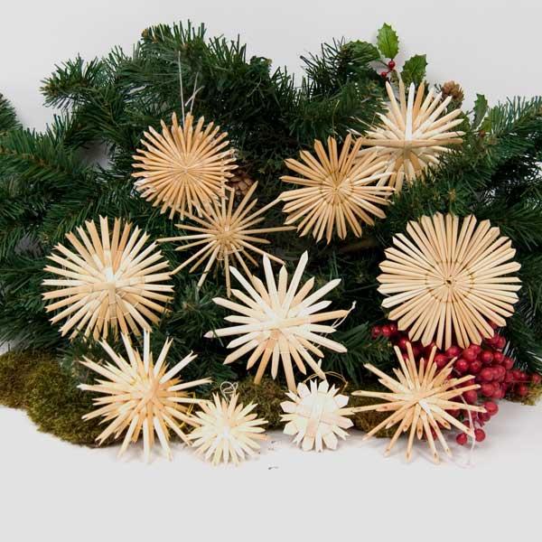 Straw Star Hanging Christmas Tree Ornaments (Set Of 12