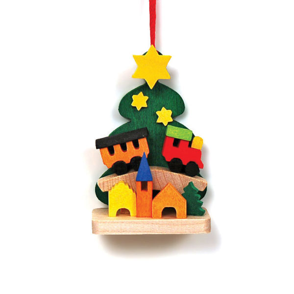 christmas tree with toy train ornament - German Handmade Wooden Christmas Decorations