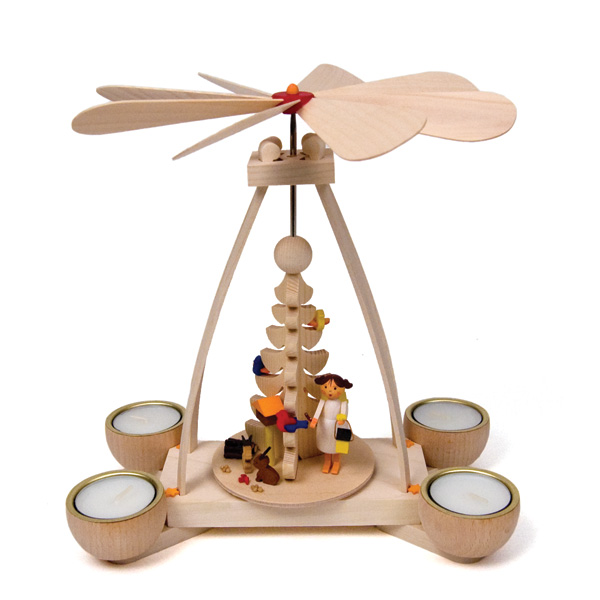tealight pyramid with angel in woods 30