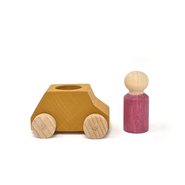 Lubulona Ochre Wooden Car with Figure (Old Style 20% Off)