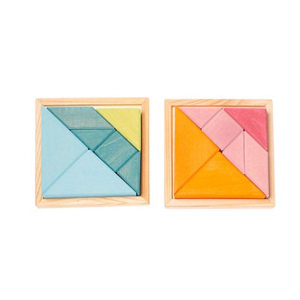 Creative Set Tangram With Template Orange Pink