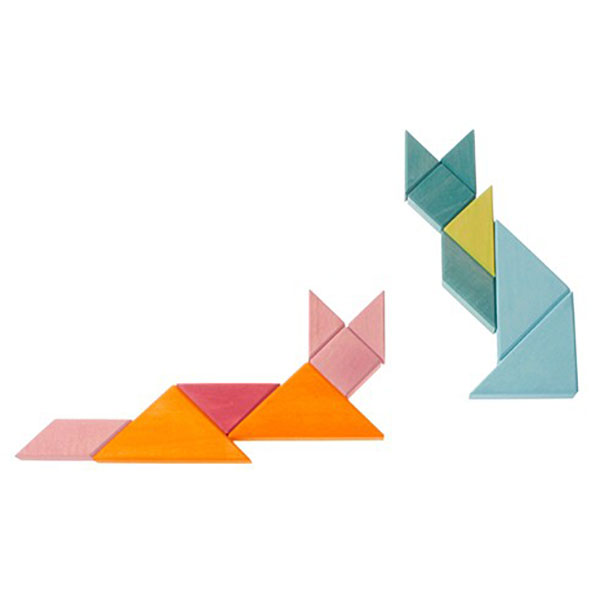 Creative Set Tangram With Template Blue Green