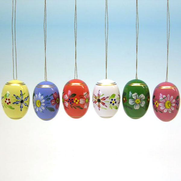 Painted Wooden Large Easter Eggs Set Of 6