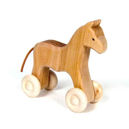 Grimms Wooden Toys Horse On Wheels
