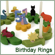 birthday rings and birthday ornaments and festive decorations